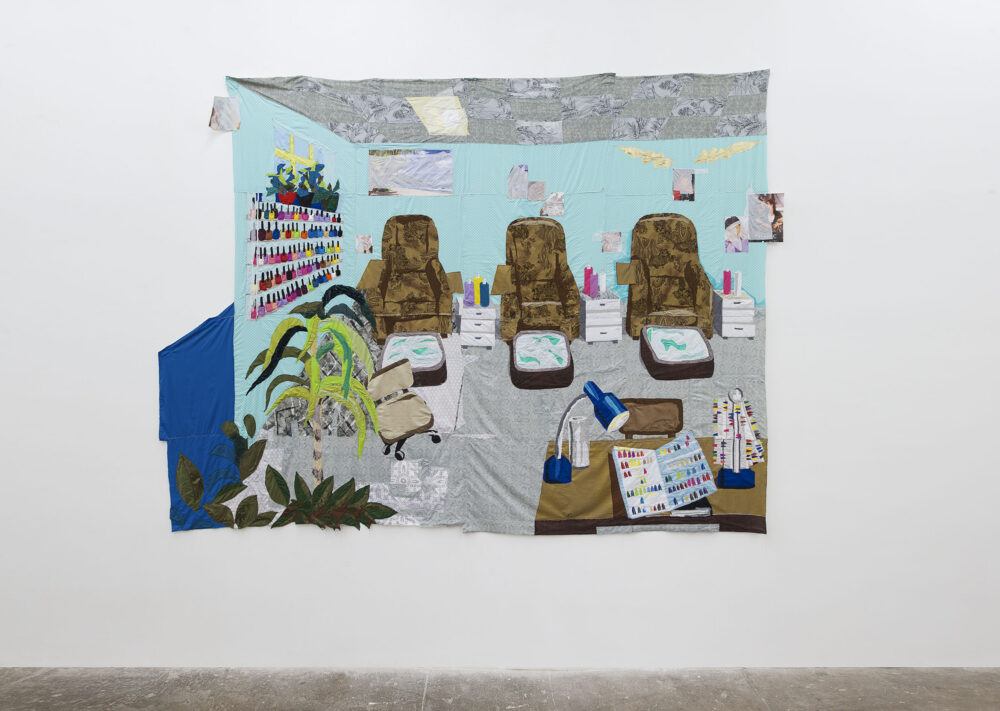 Hangama Amiri, Sahar, Nail Salon #1, 2020, cotton, chiffon, muslin, silk, suede, paper, clear plastic, inkjet prints on paper, marker, polyester, and found fabrics, 282 × 387 cm - Courtesy T293 Roma, ph. Roberto Apa