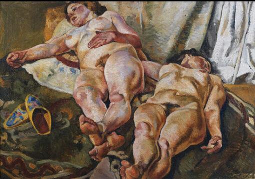 Composizione con nudi e pantofole gialle - Fausto Pirandello