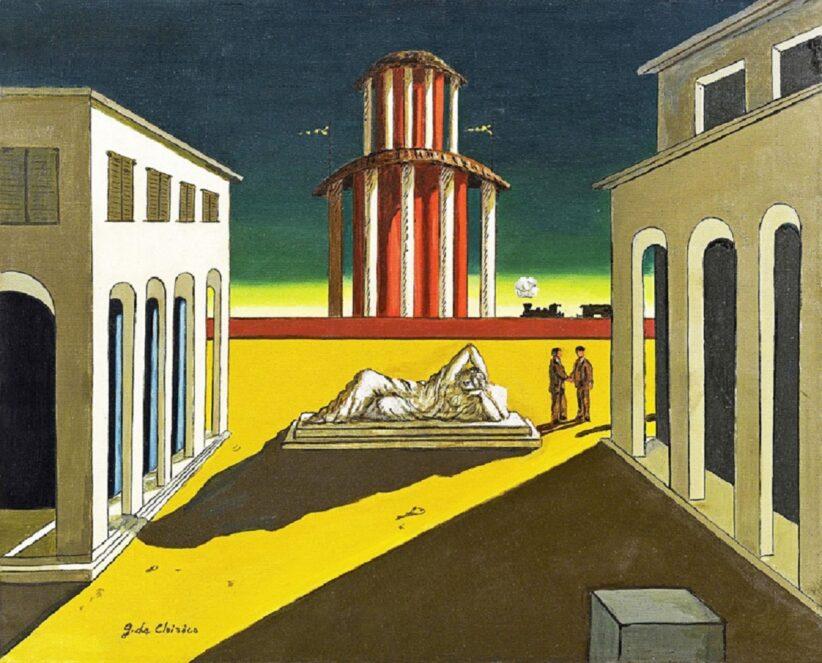 Giorgio-De-Chirico-Piazza-dItalia-olio-su-tela-50-x-60-cm.-Collezione-privata