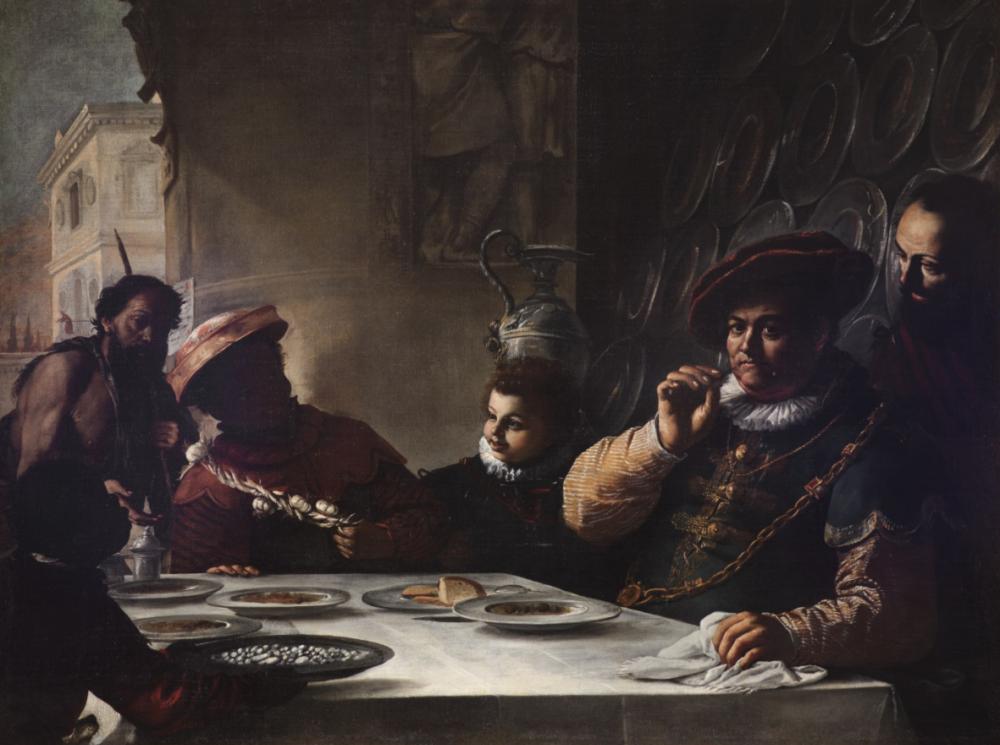 Mattia Preti, Banchetto del ricco epulone, 1655 ca, olio su tela. Roma, Gallerie Nazionali di Arte Antica Palazzo Barberini, Barberini .Foto MIBACT-Bibliotheca Hertziana