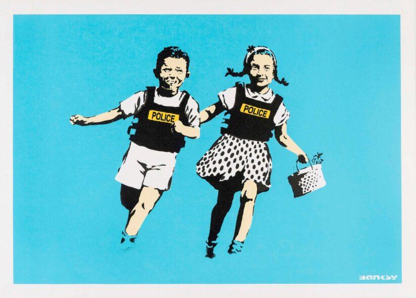 mostre Roma mostra Banksy serigrafia con due bambini che corrono