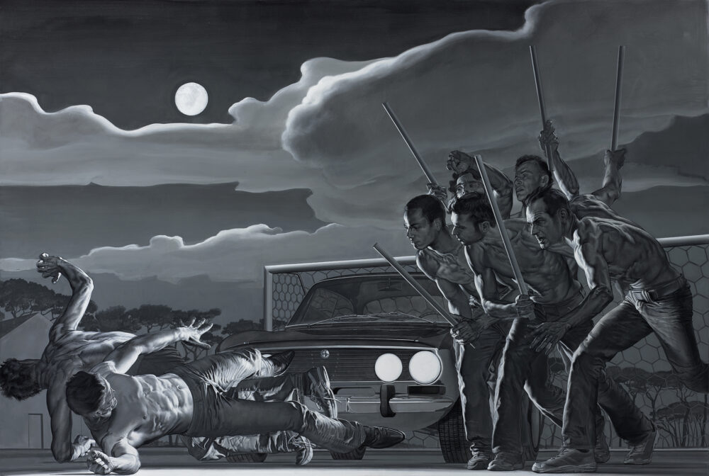 Nicola Verlato, P.P.Pasolini assassination, acrilico su tela, 152x228, 2015, collezione privata Copenhagen