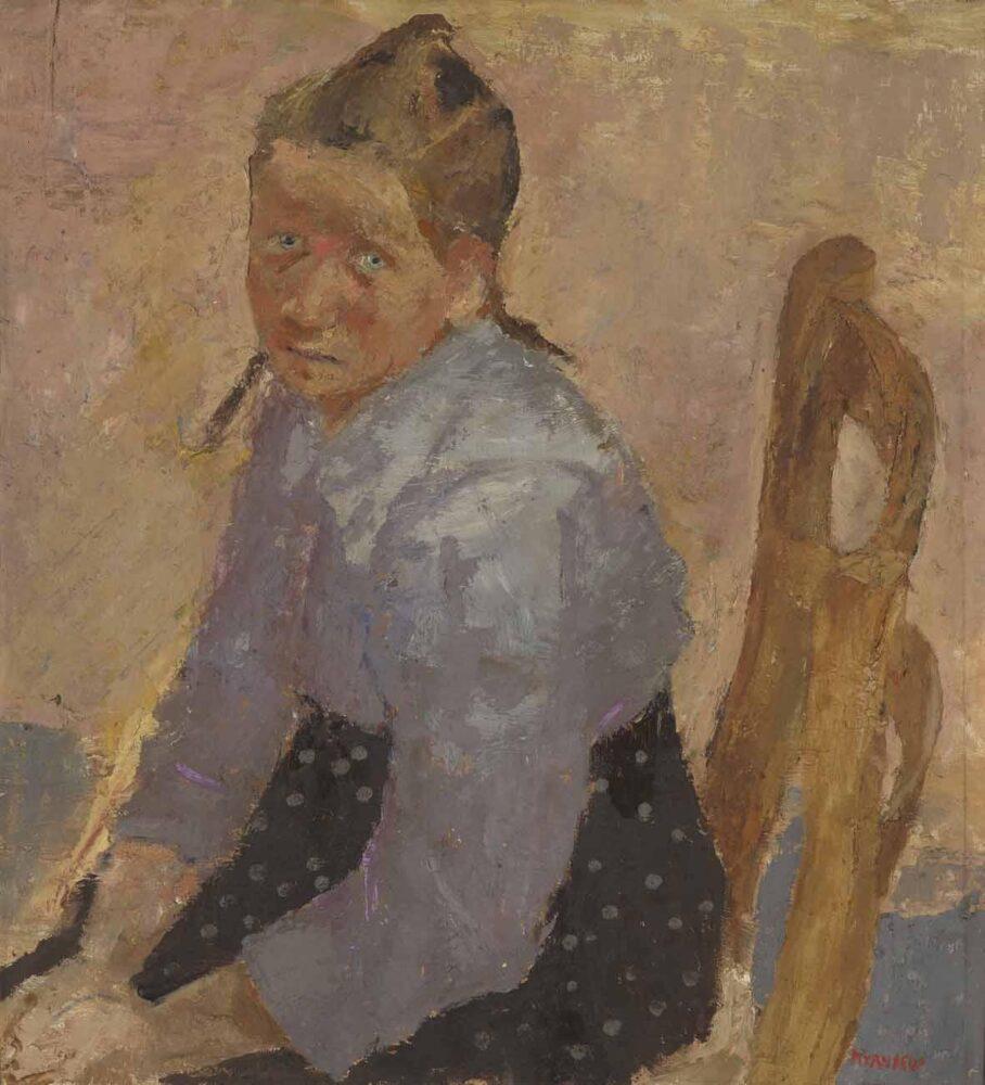 Fausto Pirandello: Bambina seduta, Olio su tavola, 1943-1944, 56 x 51,6 cm