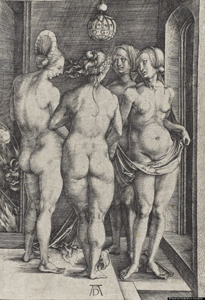 The Four Witches (Bartsch No. 75 (89), Dürer, Engraving on paper 19.00 x 13.10 cm, © National Galleries of Scotland