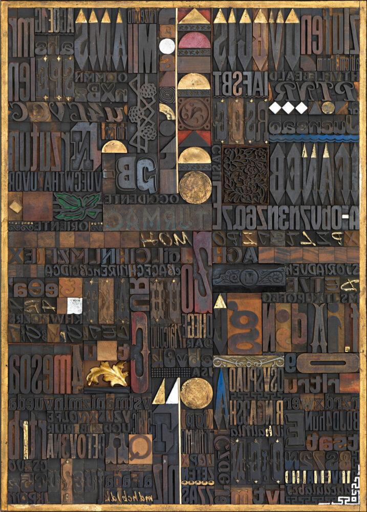 Giorgio Milani, ORIENTE OCCIDENTE, 2007, Assemblaggio di fregi e caratteri tipografici di legno, cliché di zinco, foglia oro e argento, cm 140 x 100