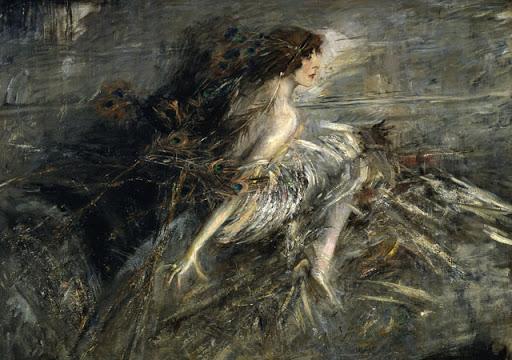 Giovanni Boldini La marchesa Luisa Casati con piume di pavone 1911-1913 Galleria Nazionale d#8217Arte Moderna e Contemporanea Roma