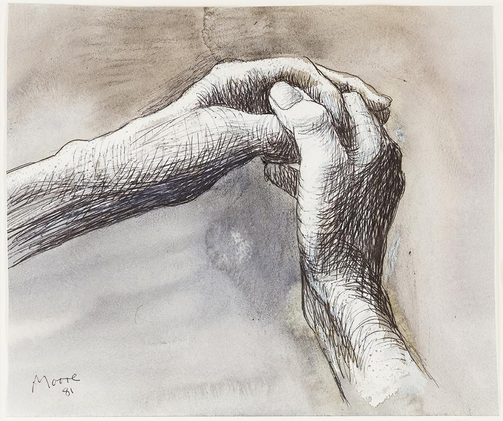 The Artist's Hands 1981 HMF 81(125) carbon line, ballpoint pen, wax crayon, watercolour wash, crayon, gouache
