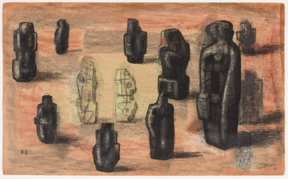 Stone Figures in a Landscape Setting 1935 HMF 1163 charcoal, pencil, wax crayon, pastel (rubbed and washed), pen and ink photo: Sarah Mercer