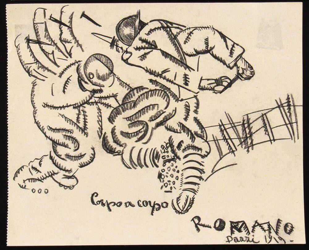 La guerra sognata: ROMANO DAZZI, Corpo a corpo, 1919 Matita e carboncino su carta PROVENIENZA: Collezione Ugo Ojetti. Lotto 219 dell'Asta 88 Bertolami Fine Art – Roma, 26 febbraio 2021