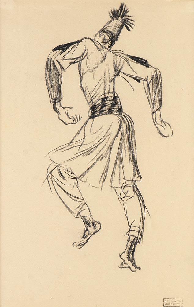 In Libia al seguito del Maresciallo Graziani: ROMANO DAZZI, Ascaro che danza, 1923 Carboncino su carta PROVENIENZA: Collezione Ugo Ojetti. Lotto 254 dell'Asta 88 Bertolami Fine Art – Roma, 26 febbraio 2021