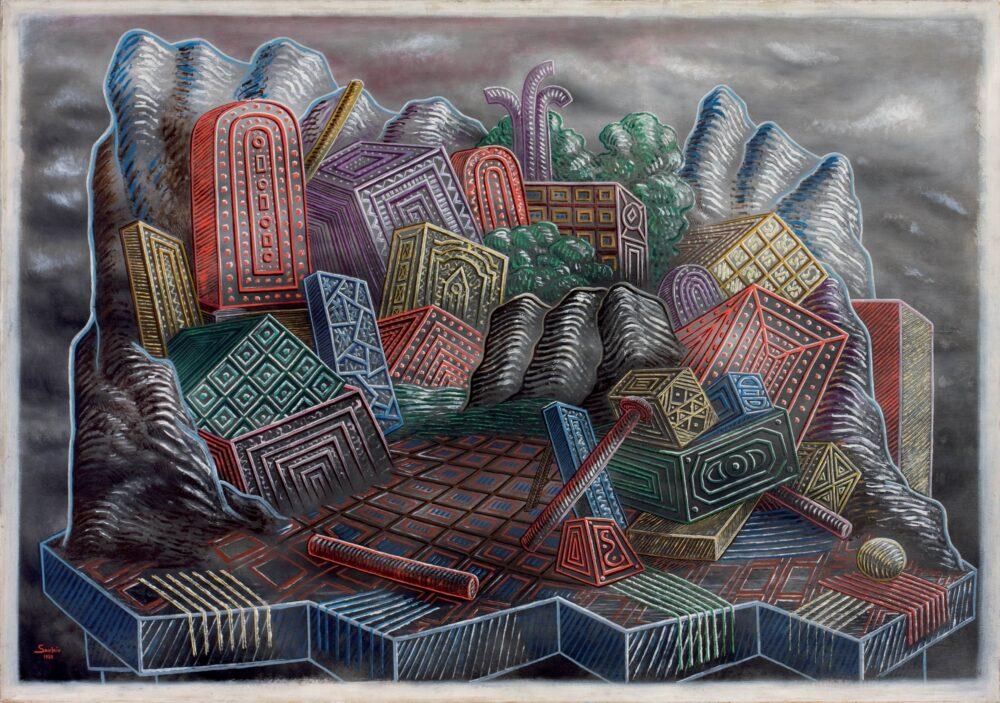 L'île des charmes, 1928 olio su tela, 114 x 162 cm Museo d'Arte Moderna, Mario Rimoldi Delle Regole d'Ampezzo © Alberto Savinio by SIAE 2021