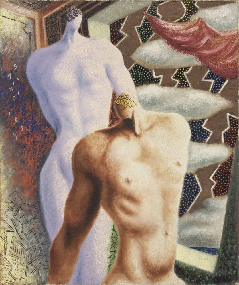Les Dioscures, 1929 olio su tela, 65 x 54 cm Milano, collezione Prada Courtesy Farsettiarte, Prato © Alberto Savinio by SIAE 2021
