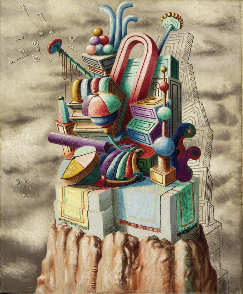 Monumento ai giocattoli, 1930 olio su tela, 80 x 65,5 cm Milano, collezione Prada Courtesy Farsettiarte, Prato © Alberto Savinio by SIAE 2021