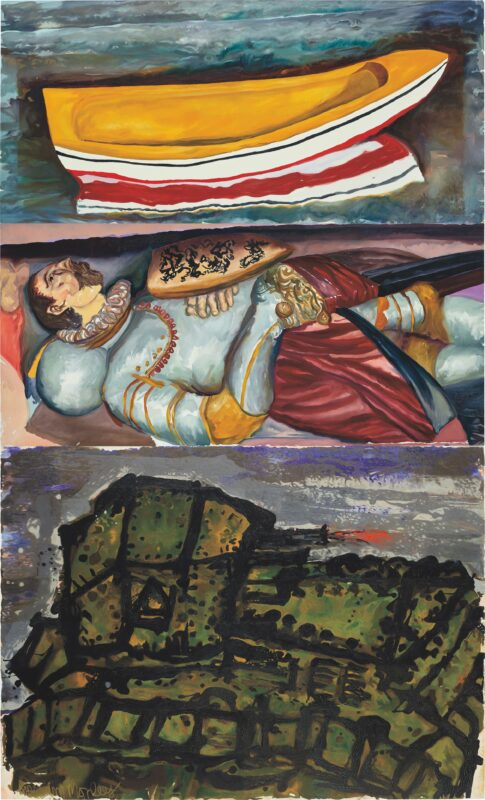 Malcolm Morley, The Boat, The Knight, The Tank, 1990<br /> Estimate: £150,000-200,000