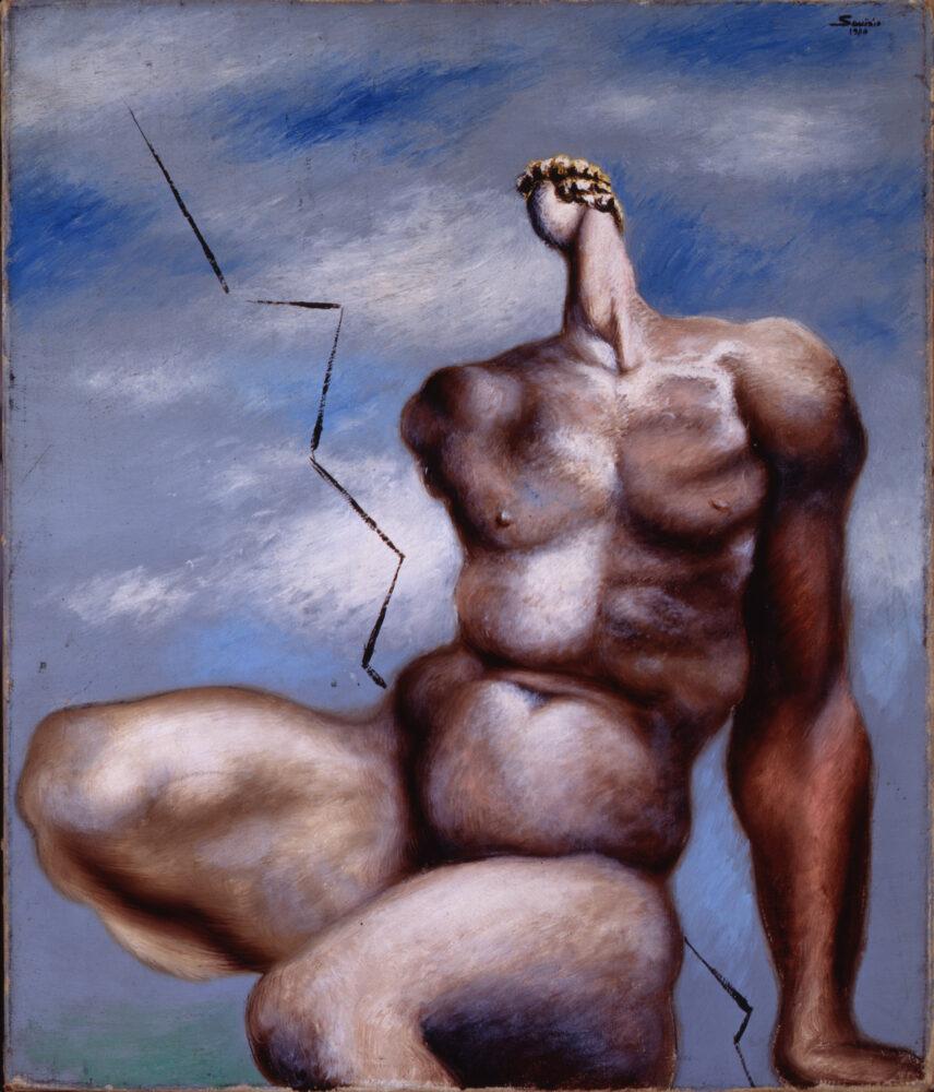 L'ira di Achille, 1930 olio su tela, 54,5 x 46 cm Collezione Barilla di Arte Moderna – Parma © Alberto Savinio by SIAE 2021