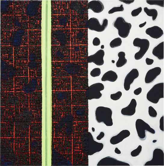 """Vaughn Spann, Dalmatian (No. 3), signed, titled and dated """"Vaughn Spann 2018 """"Dalmatian (No. 3)"""""""" on the reverse terrycloth, fabric, tape, adhesive and acrylic on canvas, 60 x 60 in. (152.4 x 152.4 cm). Executed in 2018. Estimate $40,000 - 60,000"""