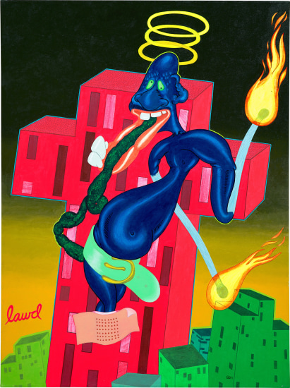 """Lotto 29, Peter Saul, Lawd, signed and dated """"Saul 68"""" lower right, acrylic on canvas, 64 x 48 in. (162.6 x 121.9 cm). Painted in 1968. Estimate $100,000 - 150,000"""