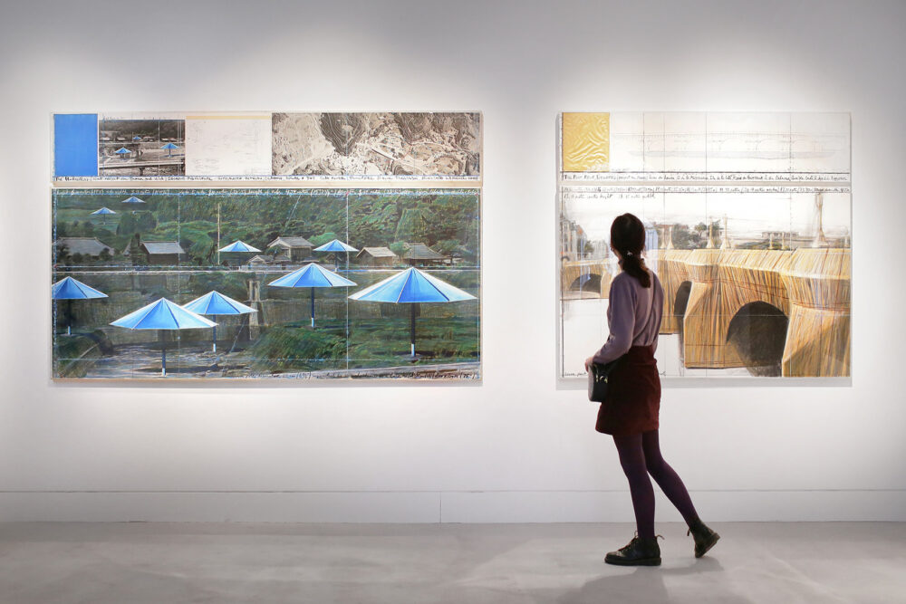 Christo and Jeanne-Claude, Drawings for blue Japanese umbrellas and Pont-Neuf