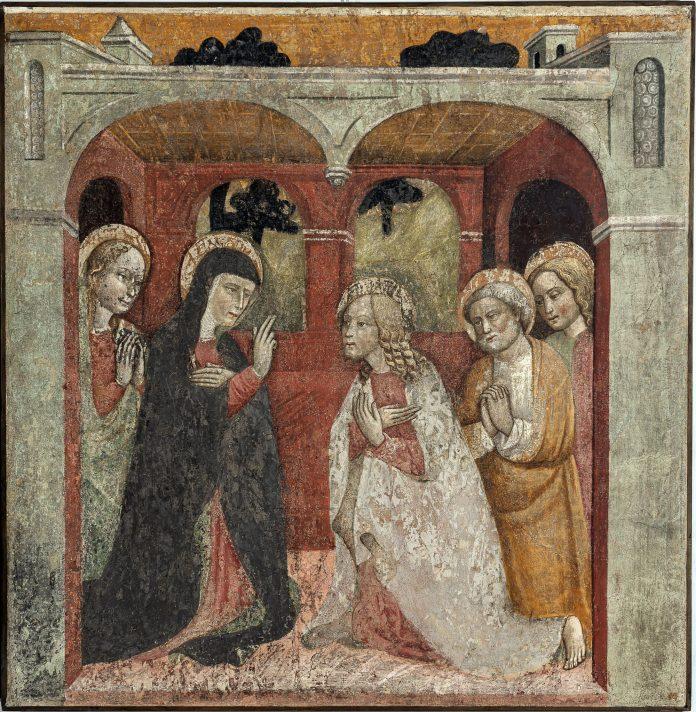 Anonimo lombardo, secolo XV, Commiato di Gesù dalla Madre, affresco strappato riportato su tela © UBI BANCA ph. Antonio Mazza, Lodi