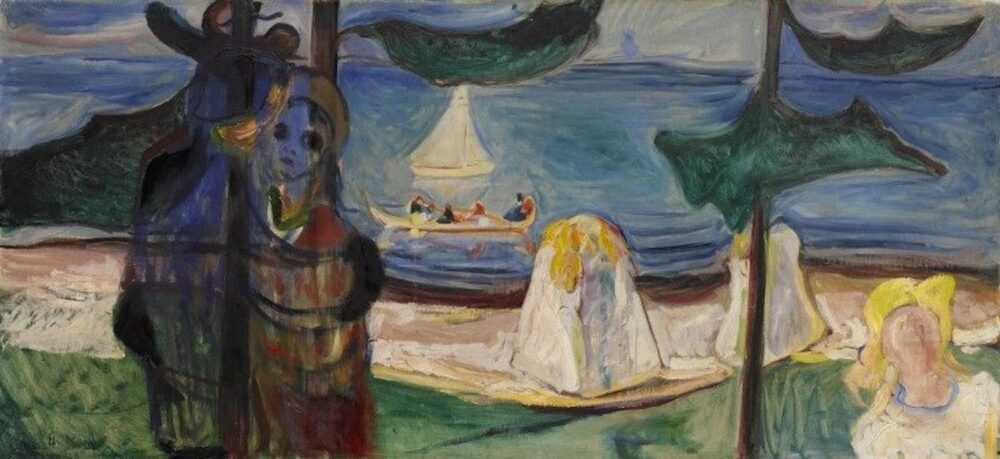 Edvard Munch, Summer Day or Embrace on the Beach (The Linde Frieze) (1904, foto Sotheby's)