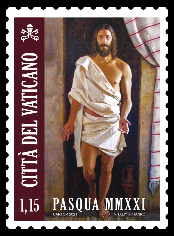 Il francobollo pasquale del Vaticano che riprende la tela di Vitaliy Shtanko conservata nella chiesa di Figline
