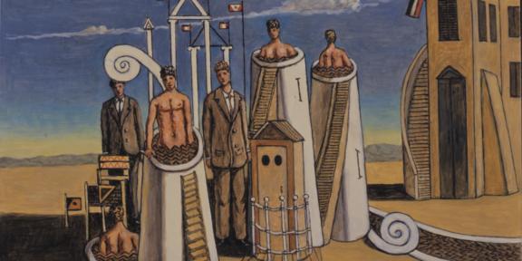 Giorgio de Chirico Bagni Misteriosi, 1965 circa, olio su tela, 64 x 82.5 cm, Fondazione Giorgio e Isa de Chirico, Roma © Giorgio De Chirico by SIAE 2020