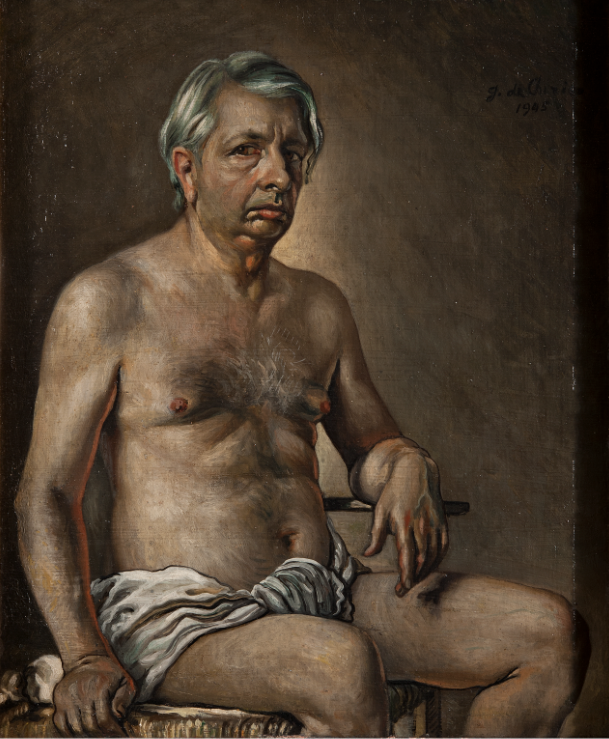 Giorgio de Chirico Autoritratto nudo, 1945, olio su tela, 60.5 x 50 cm, Galleria Nazionale d'Arte Moderna e Contemporanea di Roma © Giorgio De Chirico by SIAE 2020