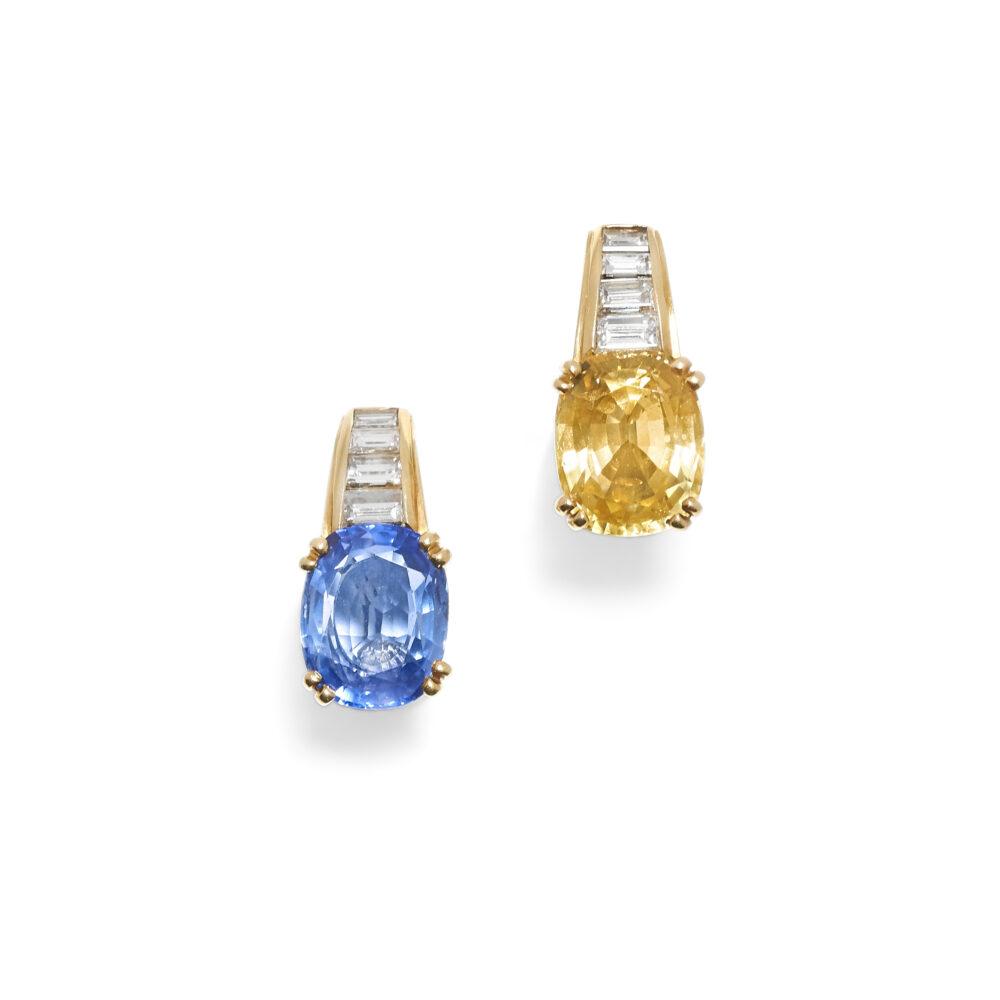 Paio di orecchini in oro, zaffiro, zaffiro giallo e diamanti (lotto 75, stima 2.200 – 2.600 euro)