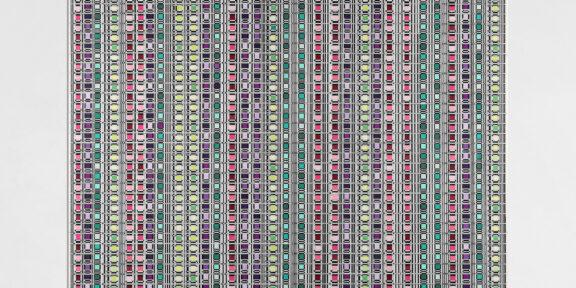 LUCIA DI LUCIANO, Dissonanze n.2, 1973, tempera Windsor e Newton su cartonlegno, 72x103 cm