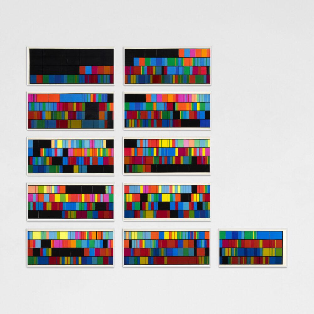 Luigi Veronesi, Visualizzazione cromatica delle misure dalla 1 alla 84 del Contrapunctus II a quattro voci in re minore da l'arte della fuga BWV 1080 di Johann Sebastian Bach, 1970