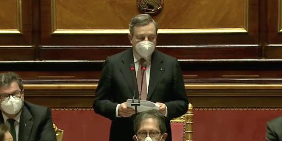 Mario Draghi durante il discorso di insediamento al Senato