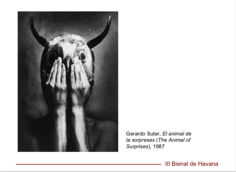 Opera di Gerardo Suter esposta alla III Biennale dell'Havana, 1989