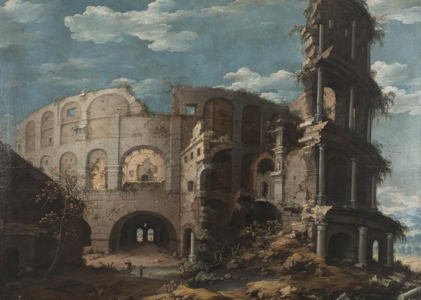 Lotto 65 - Dirck Verheart, Veduta del Colosseo, olio su tela, cm. 197 x 277. Stima 30.000-40.000 euro