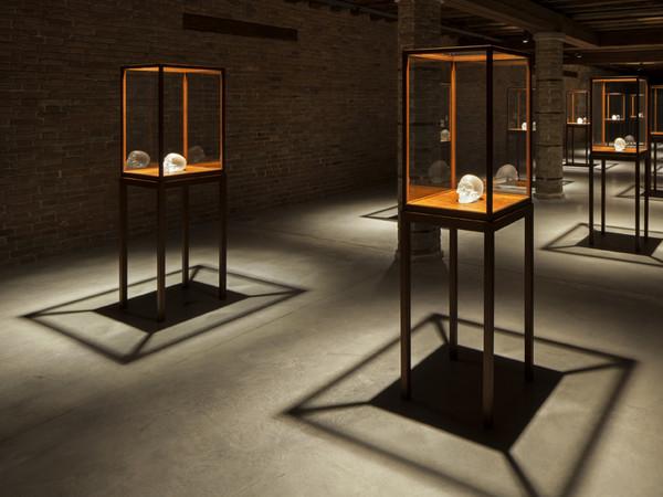 Sherrie Levine, Crystal Skull, 2010. Cast glass with glass vitrines c Sherrie Levine, Installation view at Punta della Dogana, 2013. Ph Palazzo Grassi, ORCH orsenigo_chemollo