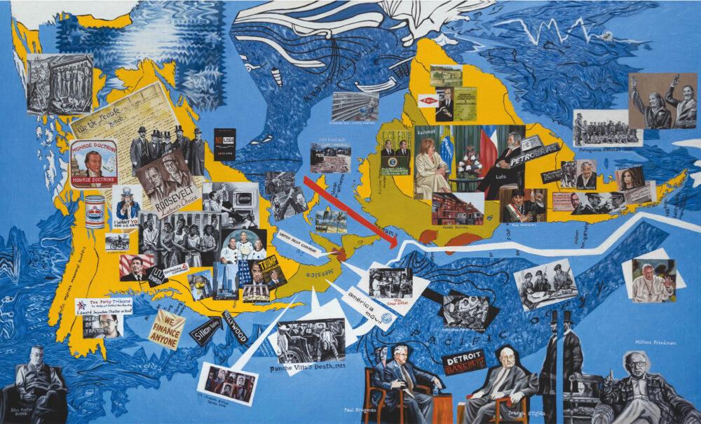 Walter Bortolossi, I Quattro Continenti - America , 2017, olio su tela cm 110 x 200