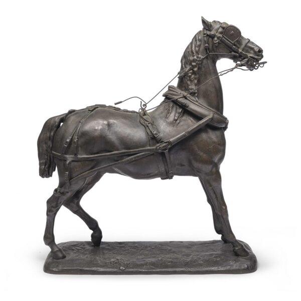 Lotto 280 - Paul Gayrard, Cavallo in bronzo, scultura a cera persa, cm. 64 x 62 x 21. Stima 800-1200 euro