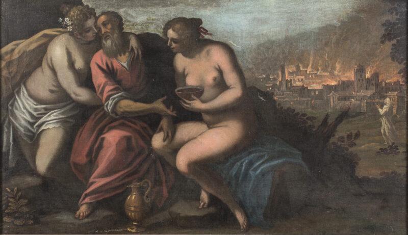 Lotto 28 - Jacopo Palma il Giovane, Loth e le figlie, Olio su tela, cm. 88 x 151 In cornice. Stima 4.000-6.000 euro
