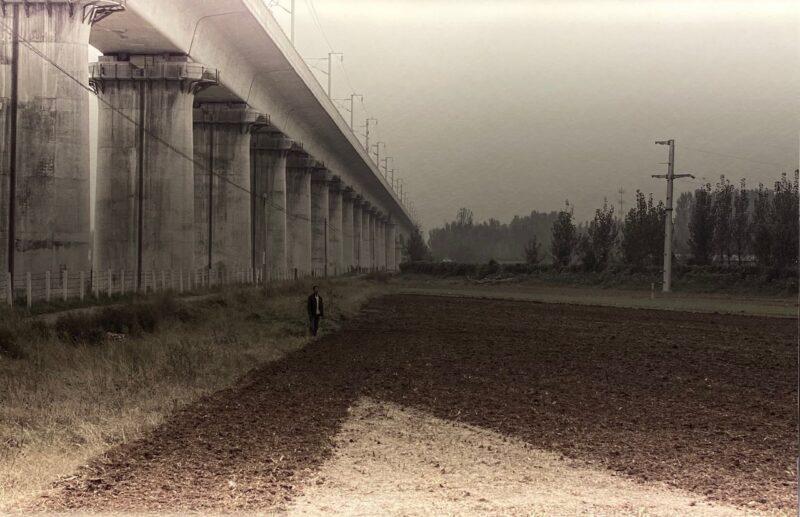 Un uomo osserva i campi, alle sue spalle la linea ferroviaria ad alta velocità, 2017, Kaifeng