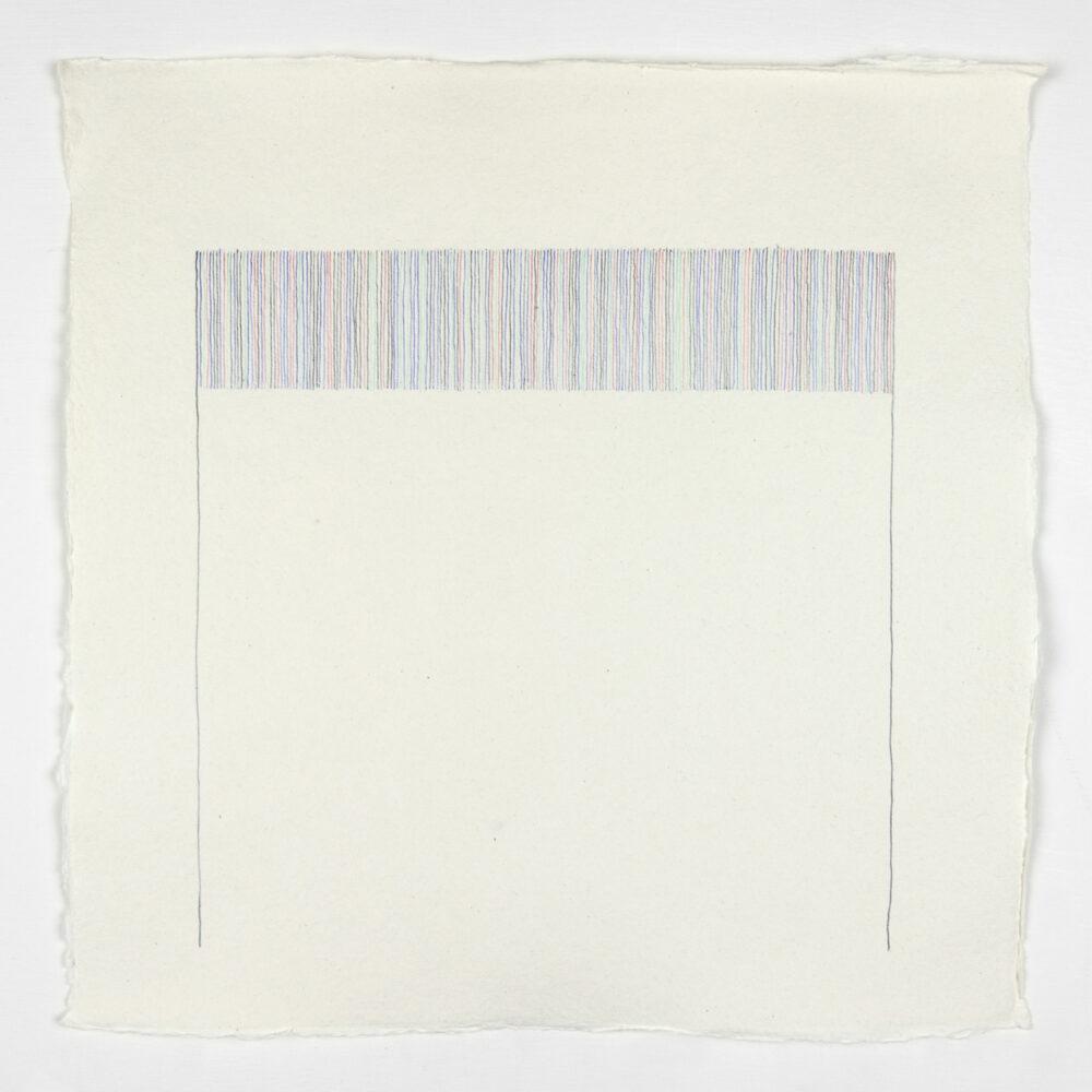 Vincenzo Merola, 208 Dice Rolls and 2 Fixed Lines, 2018, Penna a sfera su carta, cm 30×30