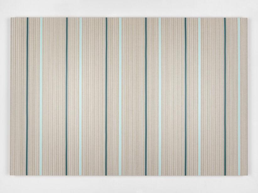 Vincenzo Merola, 108 Coin Flips and 12 Fixed Stripes, 2020, Pigmenti, gesso e acrilico su lino, cm 80×120