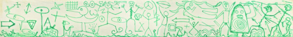 Enrico Baj Il mondo delle idee , 1983 Vernice spray su tela , 240 x 1.900 cm Archivio Baj, Vergiate C ourtesy Archivio Enrico Baj, Vergiate