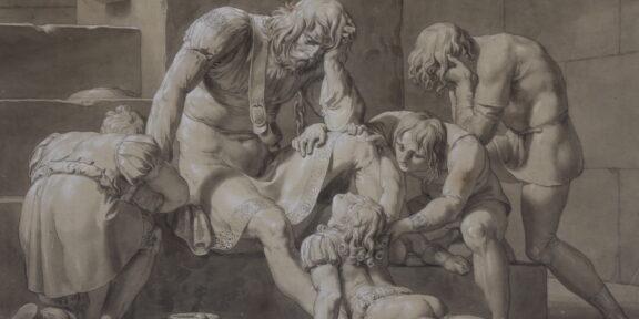 Pelagio Palagi (Bologna 1775 - Torino 1860), Il conte Ugolino imprigionato con i figli, penna, inchiostro bruno, biacca e acquerello su carta, mm 380x533. Stima: 1.000 - 1.500. Venduto a: 20.000 euro