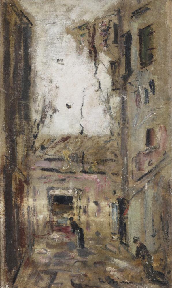 Filippo De Pisis (1896 - 1956) Case e figure olio su tela applicata su tela cm. 50x31 firmata in basso al centro Stima 6.000 – 8.000 euro