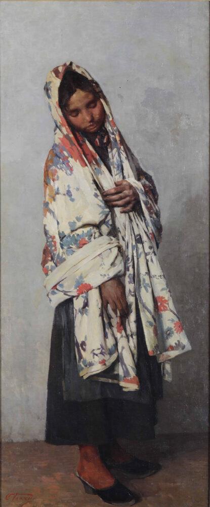 Cesare Viazzi (1857 - 1943) Il mezzaro, 1889 olio su tela cm 118x50 firmato in basso a sinistra Stima 5.000 – 7.000 euro