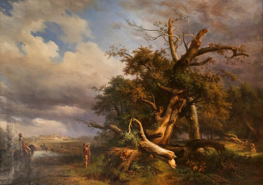 Massimo Taparelli D'Azeglio (1798 - 1866) Muzio Attendolo Sforza che lancia l'accetta sull'albero, 1858 ca. olio su te la, cm 177x247, firmato in basso a destra Stima 18.000 – 24.000 eur