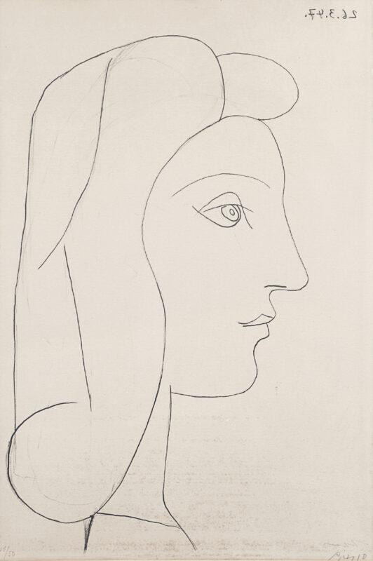 Lotto 41 - Pablo Picasso, Profile de femme, 1947, litografia es.41/50 su carta Arches, firmata a matita in basso a destra, datata 26/3/47 al rovescio in alta a destra, 56x38 cm. Stima 2.000-3.000 euro