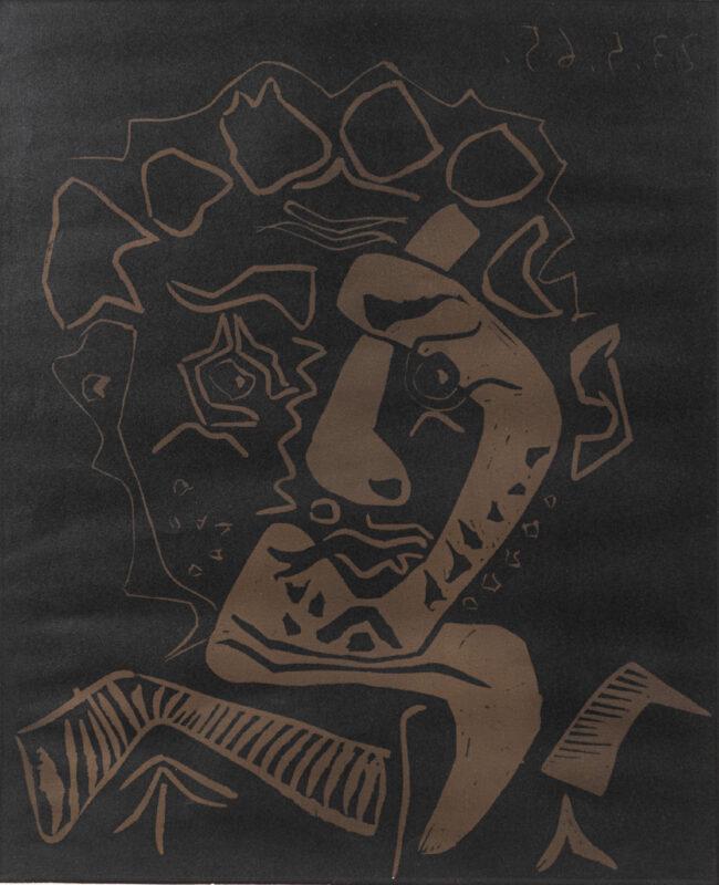 Lotto 42 - Pablo Picasso, Tête d'Histrion (Le danseur), 1965, linografia a due colori su carta Arches, firmata a matita in basso a destra e numerata 127/200, entro cornice. Stima 3.000-5.000 euro