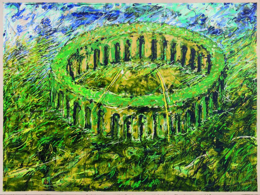Mario Schifano Osservatorio, 1985 acrilico e smalto su tela , 300 x 400 cm Collezione Emilio Mazzoli, Modena © MARIO SCHIFANO, by SIAE 202 1 Foto ph©RolandoPaoloGuerzon