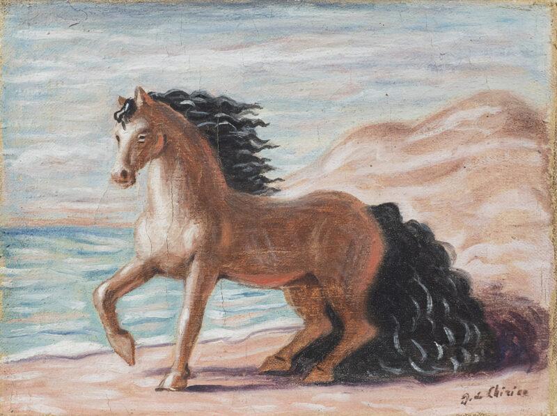 Lotto 76- Giorgio De Chirico, Cavallino, 1932-33, olio su tela, firmato in basso a destra: G. de Chirico, entro cornice. Stima 20.000-30.000 euro