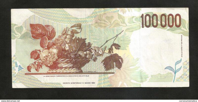 """La """"Canestra di frutta"""" sul rovescio del secondo tipo della banconota da 100.000 lire."""
